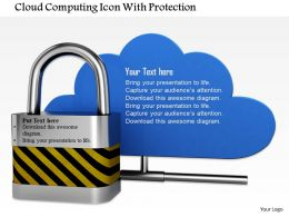 0814 Lock Over The Blue Cloud Shows Data Safety Image Graphics For Powerpoint