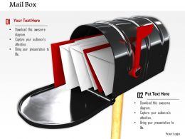 0814 Mailbox With Red White Envelopes For Messaging Concept Graphics For Powerpoint