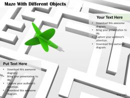 0814 Maze With Green Arrow In Centre Target Achievement Image Graphics For Powerpoint