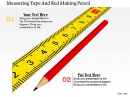 0814 Measuring Tape With Red Pencil Shows Measurement Image Graphics For PowerPoint