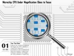 0814 Microchip CPU Under Magnifying Glass To Focus On A Topic And Show Magnification Ppt Slides