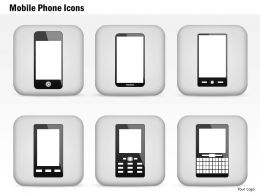 0814 Mobile Phone Icons Iphone Blackberry Android Wireless Devices Ppt Slides