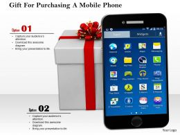 0814 Mobile Phone With Gift Box Image Graphics For Powerpoint