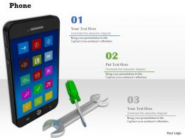 0814 Mobile Phone With Screwdriver And Wrench Image Graphics For Powerpoint