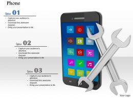 0814 Mobile Phone With Two Wrenches Image Graphics For Powerpoint