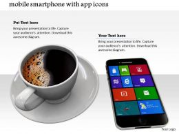 0814 Mobile Smartphone With App Icons On Screen And Coffee Cup Lying On White Background Graphics For Powerpoint