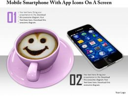 0814 Mobile Smartphone With Icon On Screen And Coffee Cup On White Background Graphics For Powerpoint