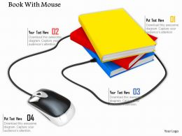 0814 Mouse Connected With Multiple Books Shows Technology Image Graphics For PowerPoint