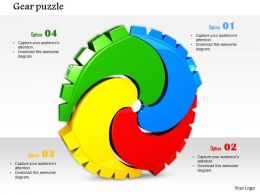 0814 Multicolored Puzzle In Gear Shape To Show Team Strength Image Graphics For Powerpoint