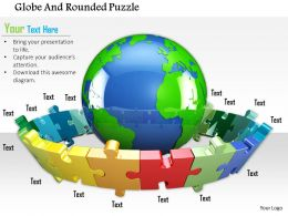 0814 Multicolored Puzzles Around The Globe Shows Global Business Image Graphics For PowerPoint