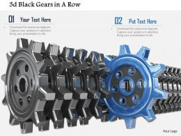 0814 Multiple Black Gears With One Blue Gear Standing Out Shows Leadership Concept Image Graphics For Powerpoint