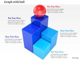 0814 Multiple Blue Blocks With Red Sphere On Top Image Graphics For PowerPoint