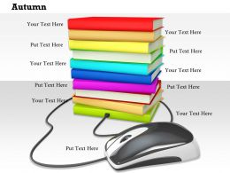 0814_multiple_book_stack_connected_with_mouse_showing_internet_education_image_graphics_for_powerpoint_Slide01