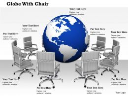 0814 Multiple Chairs Around The Globe Shows Business Meeting Image Graphics For PowerPoint
