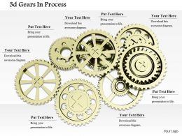 0814 Multiple Golden Gears To Show Process Control Image Graphics For Powerpoint
