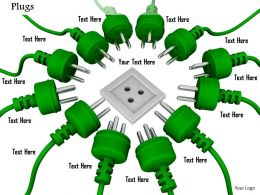 0814 Multiple Green Plugs With One Socket Shows Target Selection Image Graphics For Powerpoint
