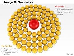 0814 Multiple Yellow Spheres In Circle Around The Red Sphere Showing Leadership Image Graphics For PowerPoint