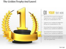 0814 Number One Position On Golden Laurel Image Graphics For Powerpoint