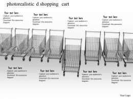 0814 Photorealistic Shopping Cart Empty On White Background Graphics For Powerpoint