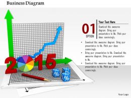 0814 Pie And XY Bar Graph With Growth Arrow For Year 2015 Image Graphics For PowerPoint