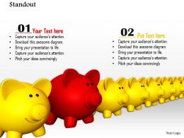 0814 Piggy Banks In Line For Finance Leadership Concepts Graphics For Powerpoint