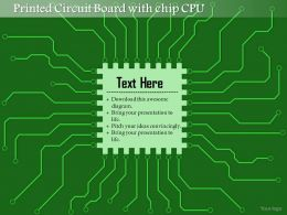 0814 Printed Circuit Board PCB With Chip CPU Microprocessor With Connections For EDA Ppt Slides