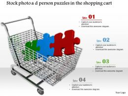 0814 Puzzle Pieces In Shopping Cart For Shopping Strategy Graphics For Powerpoint