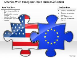 0814 Puzzle To Show US And Europe Connection Image Graphics For PowerPoint