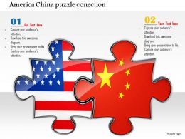 0814 Puzzles Made Of American And China Flags Shows Business Relation Image Graphics For PowerPoint