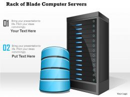 0814 Rack Of Blade Computer Servers With Storage Or Database Within A Datacenter Ppt Slides