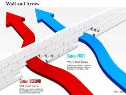 0814 Red And Blue Arrows Breaking The Wall Shows Success Image Graphics For Powerpoint