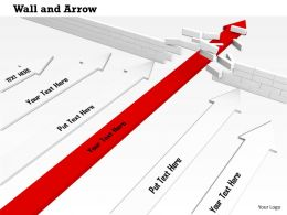 0814 Red Arrow Breaking The Wall With White Arrows And Showing Leadership Image Graphics For Powerpoint