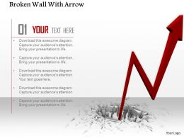 0814 Red Arrow Coming Out From Broken Wall Image Graphics For Powerpoint