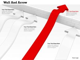 0814 Red Arrow Jumping Wall While White Arrows Trying To Cross The Wall Image Graphics For Powerpoint