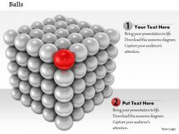 0814 Red Ball In The Corner Of Grey Balls Shows Leadership Image Graphics For PowerPoint