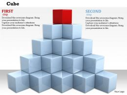 0814 Red Cube On Top Of White Cubes Shows Leadership Image Graphics For PowerPoint