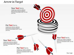 0814 Red Dart Over The Stack Of Darts With Arrows In Side Shows Target Achievement Image Graphics For Powerpoint