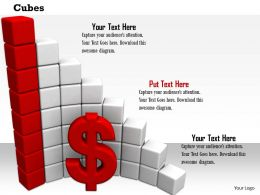 0814 Red Dollar Symbol With Bar Graph For Financial Growth Image Graphics For PowerPoint