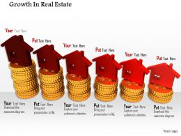 0814 Red Houses On Golden Coins For Real Estate Growth Image Graphics For Powerpoint