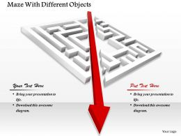 0814 Red Progressive Arrow Over Maze To Show Solution Image Graphics For Powerpoint