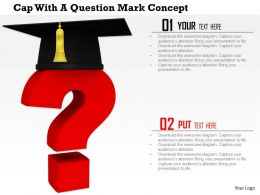 0814 Red Question Mark Wearing Graduation Cap Shows Education Concept Image Graphics For PowerPoint