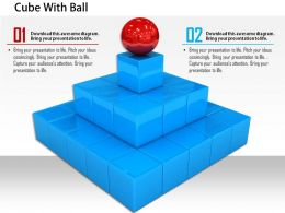 0814 Red Sphere On Blue Squares With Three Stages Leadership Image Graphics For PowerPoint