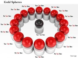 0814 Red Spheres Around The Brown Sphere Shows Team And Leadership Image Graphics For PowerPoint