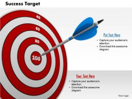 0814 Red Target Dart With Blue Arrow In Centre Image Graphics For Powerpoint