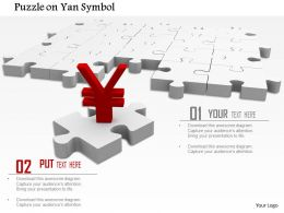 0814 Red Yen Symbol On White Puzzle Image Graphics For Powerpoint