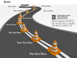 0814 Roadmap With Multiple Traffic Cones For Business Targets Image Graphics For PowerPoint