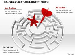 0814 Rounded Maze As Dartboard And Dartpins For Targets Graphics For Powerpoint