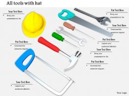 0814 Series Of Hammer Handsaw Wrench And Screwdriver With Yellow Hat Image Graphics For Powerpoint