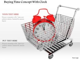 0814 Shopping Cart Containing Alarm Clock For Time Management Graphics For Powerpoint