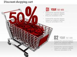 0814 Shopping Cart Full With Fifty Percent Discount Value Image Graphics For Powerpoint